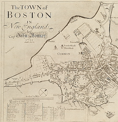 18th Century Boston map